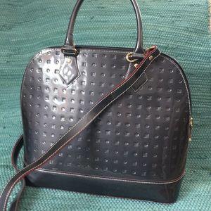 Arcadia Grey Patent Leather Handbag
